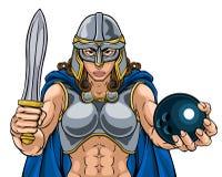 Mulher do guerreiro de Viking Trojan Celtic Knight Boliches ilustração royalty free