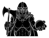 Mulher do guerreiro de Viking Trojan Celtic Knight Cricket ilustração do vetor
