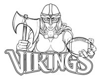 Mulher do guerreiro de Viking Trojan Celtic Knight Football ilustração stock