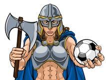 Mulher do guerreiro de Viking Trojan Celtic Knight Soccer ilustração royalty free