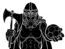 Mulher do guerreiro de Viking Trojan Celtic Knight Soccer ilustração stock