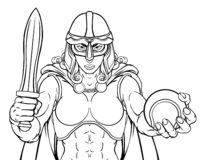 Mulher do guerreiro de Viking Trojan Celtic Knight Tennis ilustração do vetor