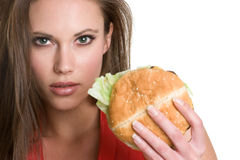 Mulher do hamburguer Imagens de Stock