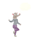 mulher do homem-lobo da dança dos desenhos animados com bolha do pensamento Imagens de Stock