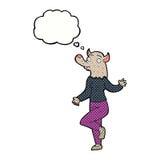 mulher do homem-lobo da dança dos desenhos animados com bolha do pensamento Imagem de Stock Royalty Free