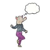 mulher do homem-lobo da dança dos desenhos animados com bolha do pensamento Foto de Stock