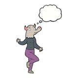 mulher do homem-lobo da dança dos desenhos animados com bolha do pensamento Fotos de Stock