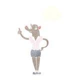 mulher do homem-lobo dos desenhos animados com ideia com bolha do pensamento Foto de Stock