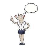 mulher do homem-lobo dos desenhos animados com ideia com bolha do pensamento Fotografia de Stock Royalty Free