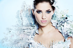 Mulher do inverno em um vestido da rainha da neve Imagens de Stock