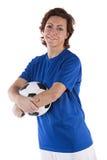 Mulher do jogador de futebol Fotografia de Stock Royalty Free