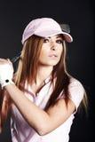 Mulher do jogador de golfe. Imagem de Stock