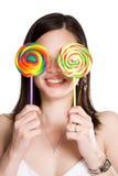 Mulher do Lollipop fotos de stock