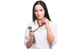 Mulher do médico com estetoscópio Imagens de Stock
