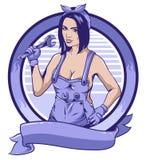 Mulher do mecânico e fundo do círculo ilustração stock