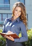 Mulher do mediador imobiliário imagens de stock