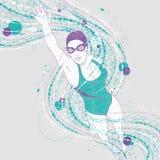 A mulher do nadador com gráficos arrasta na luz - fundo cinzento ilustração royalty free