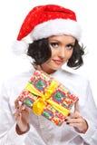Mulher do Natal com presente Imagens de Stock