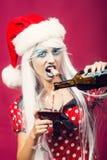 Mulher do Natal com vinho Imagem de Stock