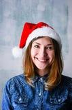 Mulher do Natal feliz imagens de stock