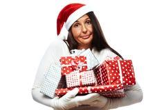 Mulher do Natal forçada para fora Imagens de Stock