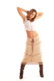 Mulher do país na saia longa Fotos de Stock Royalty Free