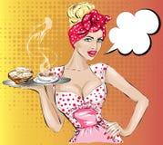 Mulher do pop art com bolha do discurso da menina do Pin-acima do café da manhã ilustração stock