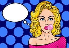 Mulher do pop art com goma ilustração stock