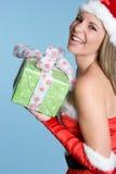 Mulher do presente do Natal Fotografia de Stock