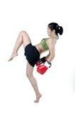 Mulher do pugilista com luva vermelha Fotos de Stock Royalty Free