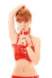 Mulher do Redhead que faz o gesto do silêncio isolado Fotografia de Stock