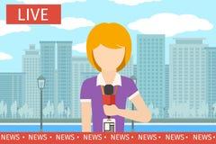 Mulher do repórter da notícia Fotos de Stock