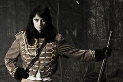 Mulher do retrato do soldado Imagem de Stock
