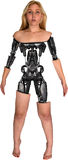 Mulher do robô de Android do Cyborg isolada Fotografia de Stock
