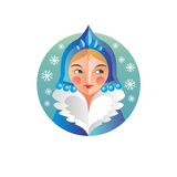 Mulher do russo do ano novo e do Natal do feriado ilustração stock