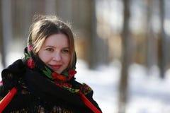 Mulher do russo no lenço Fotografia de Stock Royalty Free