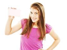 Mulher do sinal do cartão do presente imagens de stock