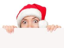 Mulher do sinal do Natal engraçada Fotografia de Stock