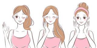 Mulher do skincare da beleza ilustração royalty free