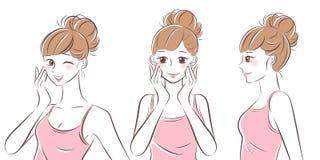 Mulher do skincare da beleza ilustração stock