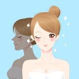 Mulher do skincare dos desenhos animados da beleza Fotos de Stock