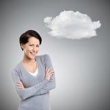 Mulher do smiley com pensamento dos braços cruzados fotos de stock royalty free