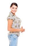 Mulher do smiley na blusa verific Fotos de Stock