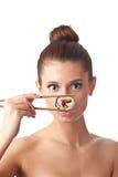 Mulher do sushi isolada Fotos de Stock Royalty Free