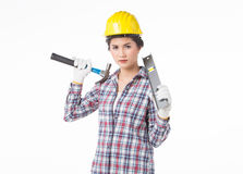 Mulher do trabalhador industrial Fundo isolado, branco Foto de Stock