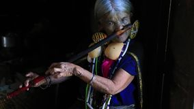 Mulher do tribo de Daai com sua flauta video estoque