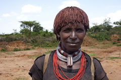 Mulher do tribo de hamar - Etiópia, África 23 12 2009 Imagem de Stock