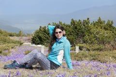 Mulher do turista que senta-se em um prado com açafrões de florescência roxos Fotos de Stock