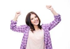 Mulher do vencedor que comemora o sucesso Fotografia de Stock Royalty Free