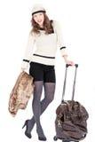 Mulher do viajante com um saco Fotos de Stock Royalty Free